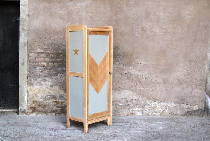 meuble toile haut de rangement armoire relook gris. Black Bedroom Furniture Sets. Home Design Ideas