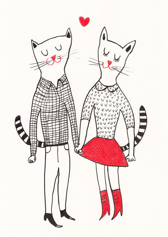 The way you smile / Original black and white ink drawing / ink drawing / Love / Cute cats / Holding hands / Sweethearts