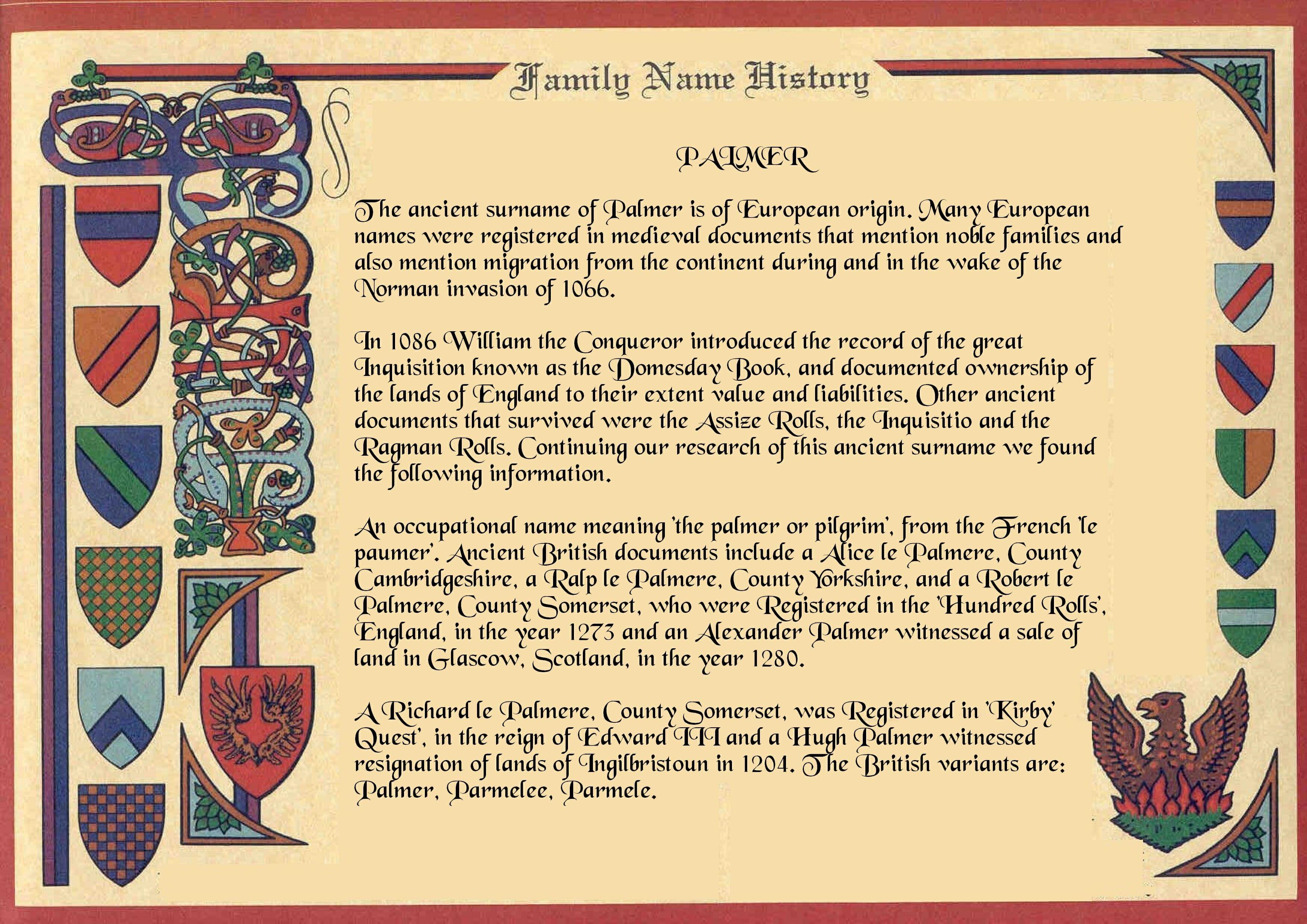 PERSONALISED FAMILY NAME ORIGIN SURNAME HISTORY*BIRTHDAY*WEDDING*ANNIVERSARY*
