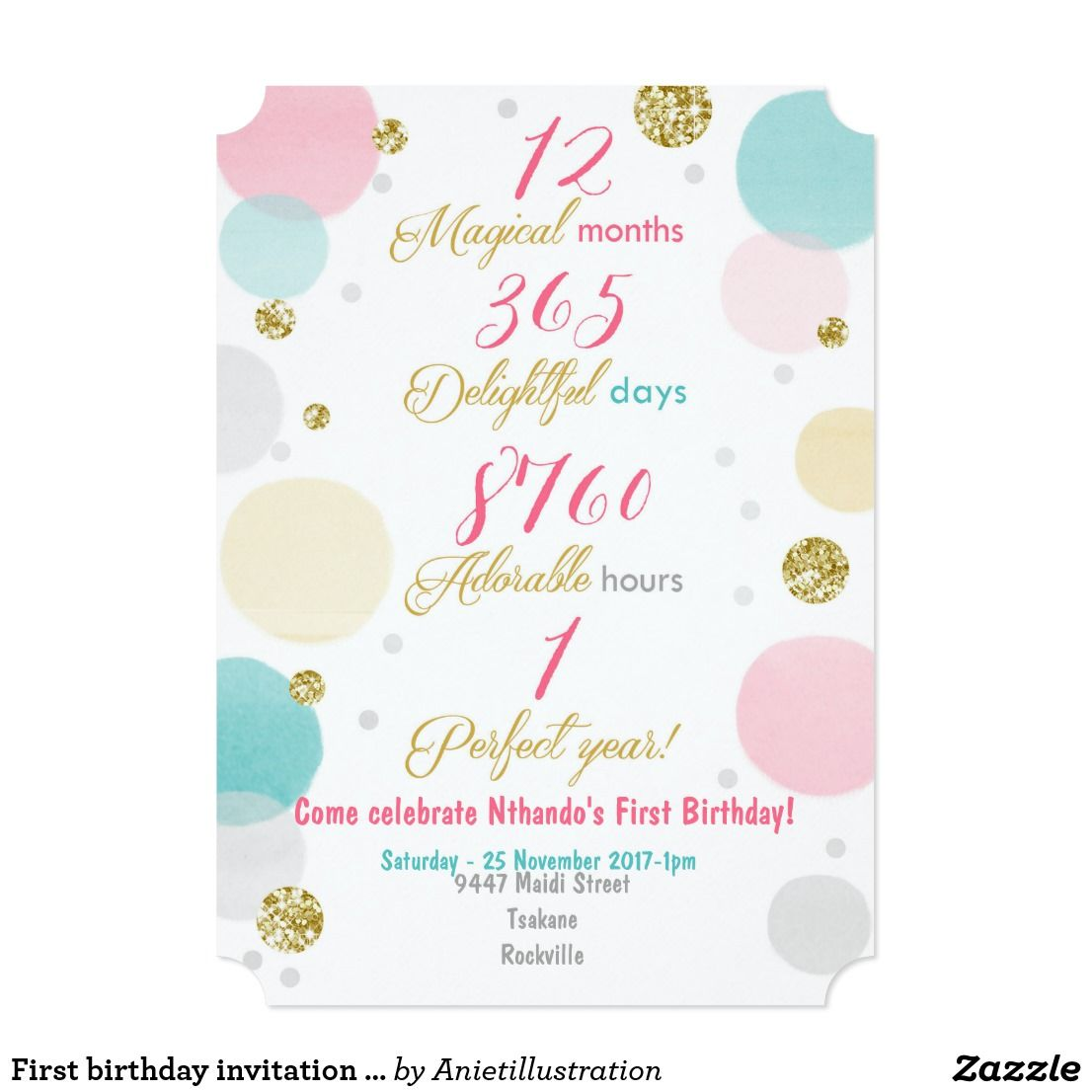 First birthday invitation girl pink gold mint first birthday invitation girl pink gold mint zazzle stopboris Images