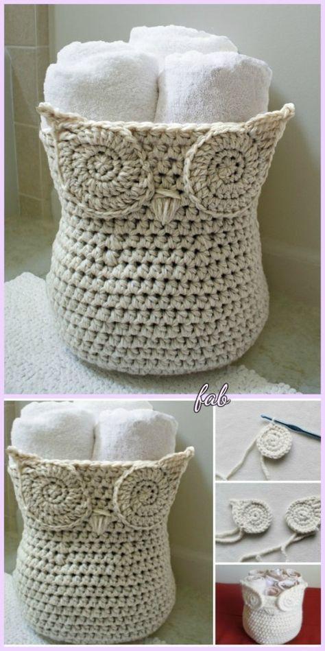 Crochet Owl Basket Free Patterns | Häkeln, Regal selber machen und ...