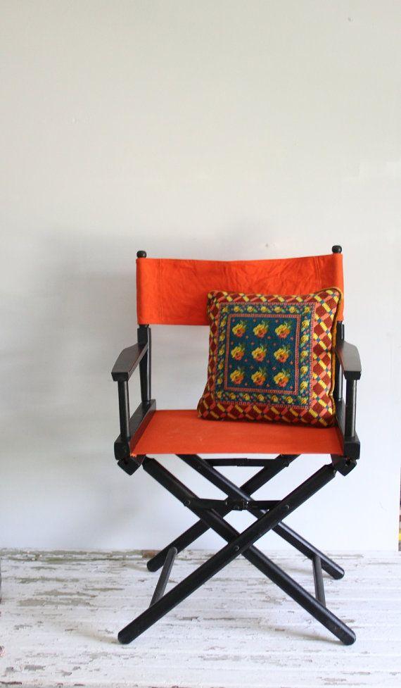 vintage directors chair / orange canvas / retro by wretchedshekels,  www.etsy.com/shop/wretchedshekels - Vintage Directors Chair / Orange Canvas / Retro Furniture