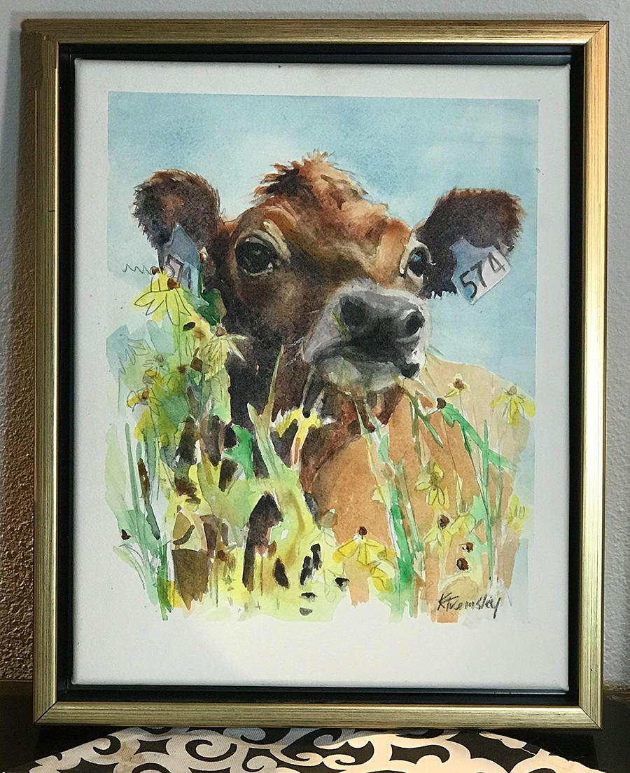 Price Reduced Jersey Calf Watercolor Painting Original Art Framed