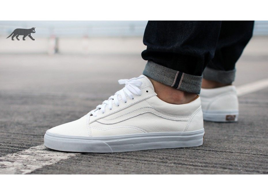 Vans Old Skool  Premium Leather  (True White)  423a2294fd4