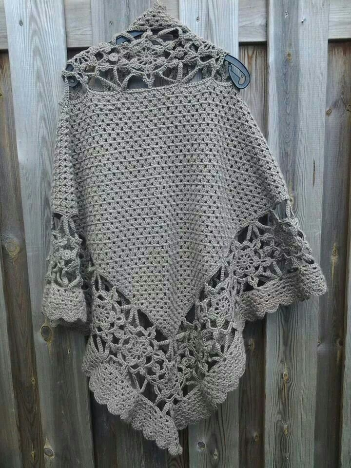 Achterkant sneeuwvlok poncho | sjaals | Pinterest | Poncho muster ...