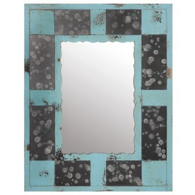 #kirklands, #pinitpretty This mirror would hang above the blue dresser that looks like it has many drawers.