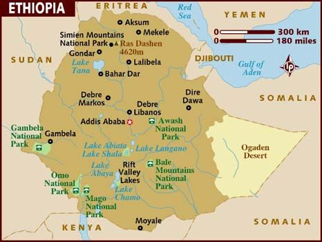 Map of Ethiopia, the proposed site of the Ethiopia Centre is ...