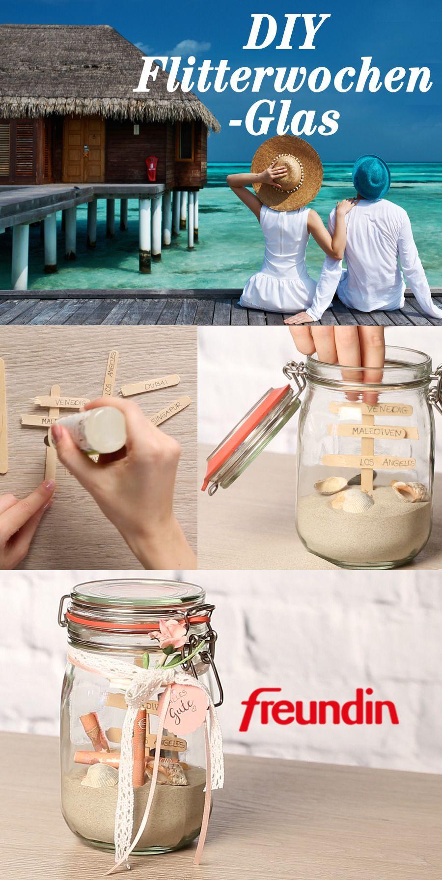 Geldgeschenk zur Hochzeit mal anders: Flitterwochen-Glas | freundin.de