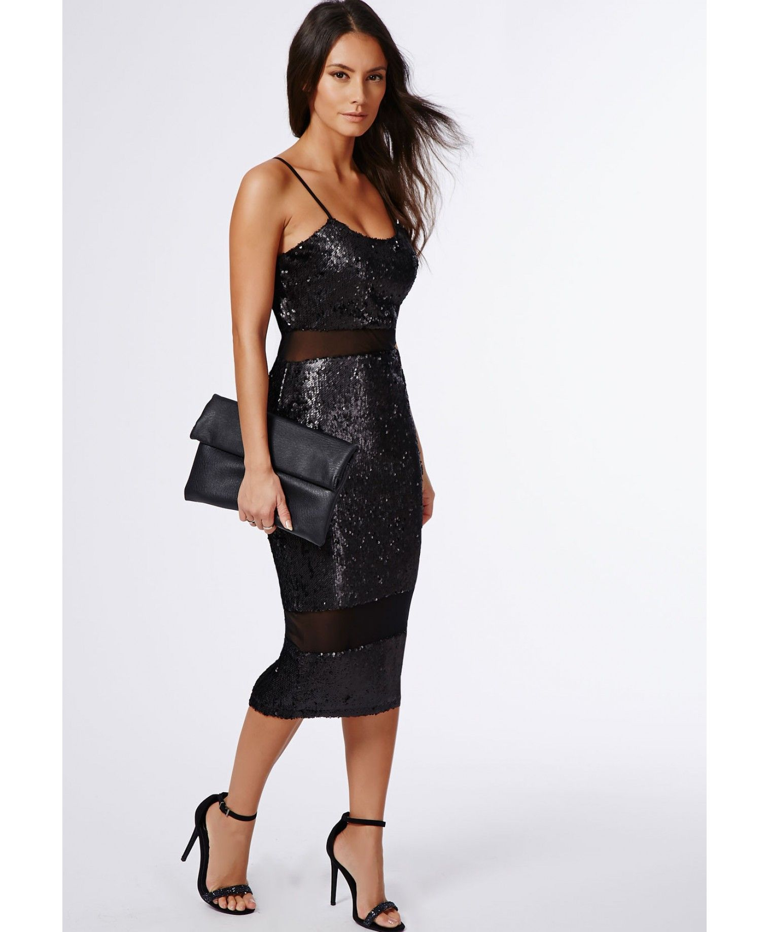 8cd68e6db03 Shilin Sequin Mesh Insert Midi Dress Black - Dresses - Midi Dresses -  Missguided