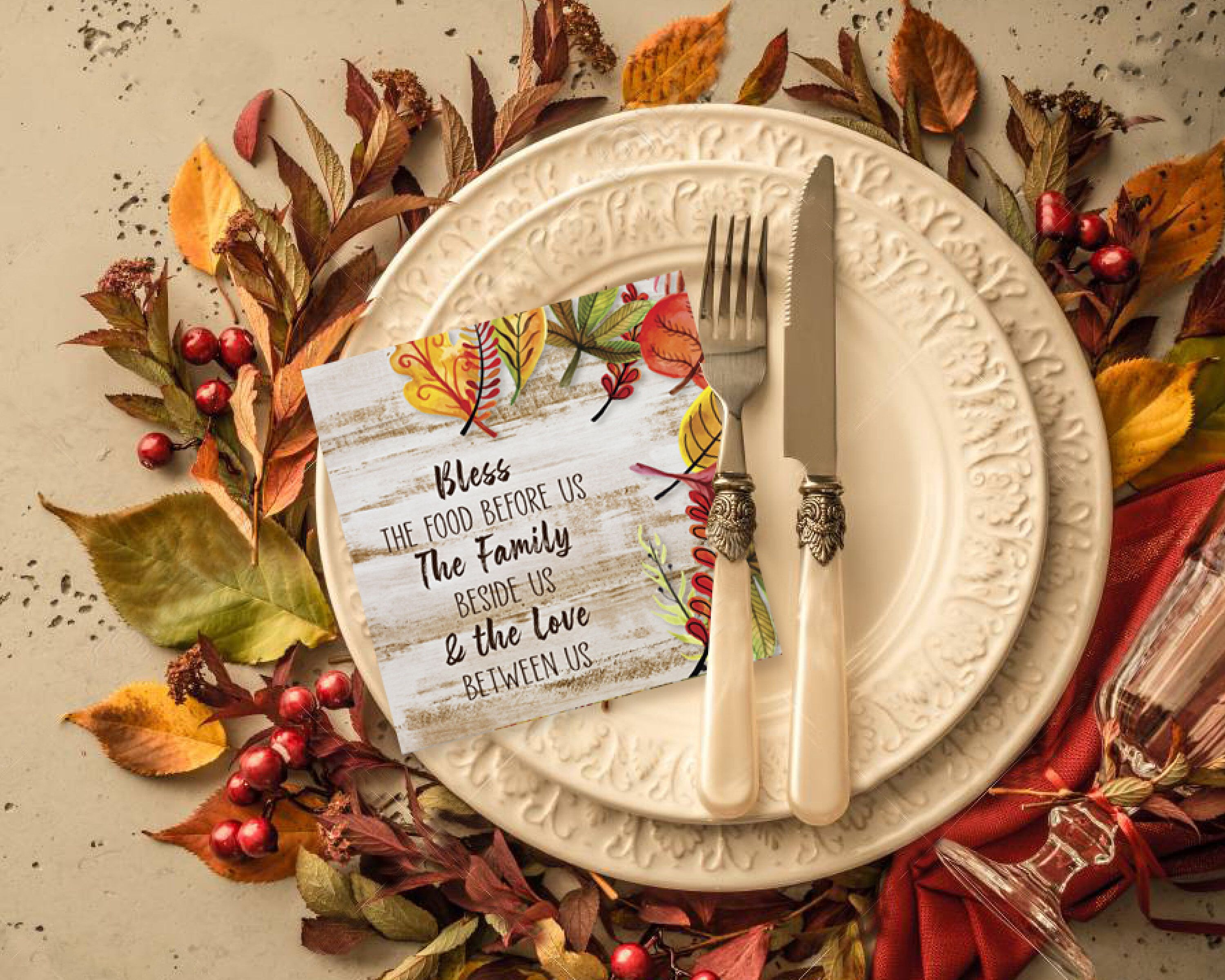 Thanksgiving Table- Plate Setting Cards, Fall Floral Sentiment Quote Card, Thanksgiving Dinner Welcome Card, Instant Download Printable File