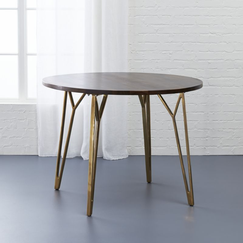 Dial Round Walnut Dining Table Cb2 Apartment Modern