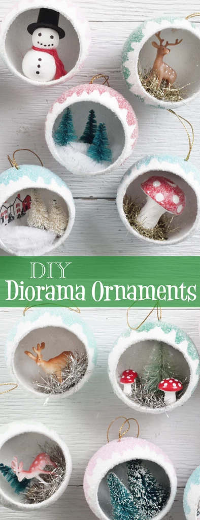 Make Retro Diorama Ornaments filled with Miniatures - Vintage Christmas Craft Tutorial #vintageweihnachten