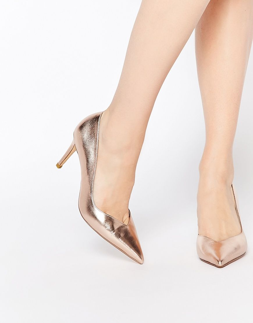 ASOS Collection Shoes Women Dune Alessia Rose Gold Sweetheart Heeled Pumps