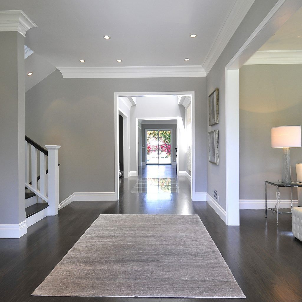 Grey Walls Brown Wood Floors  Grey walls, House interior, Home