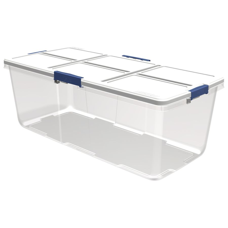 Hefty 25 Gallon Clear Tote With Latching Lid Lowes Com Storage Bins With Lids Large Plastic Storage Boxes Plastic Storage Totes