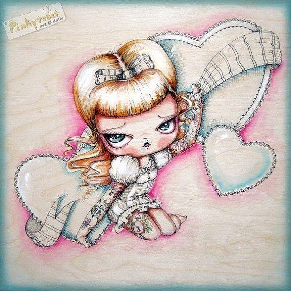 Sweet Valentine-Triple Heart Tattoo Pinup Girl-Pinkytoast Art Print-8x8. $14.00, via Etsy.