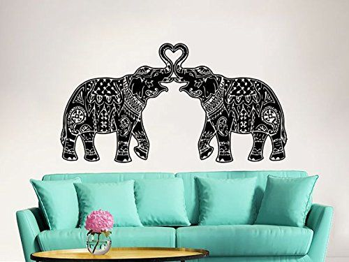 Elephant Wall Decal Stickers Floral Patterns Yoga Decals Home Decor Indie Wall Art Boho Bedding Nursery Bedroom