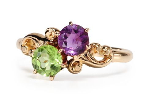Circa 1890 Victorian amethyst & peridot ring (rich color) | jewerly ...