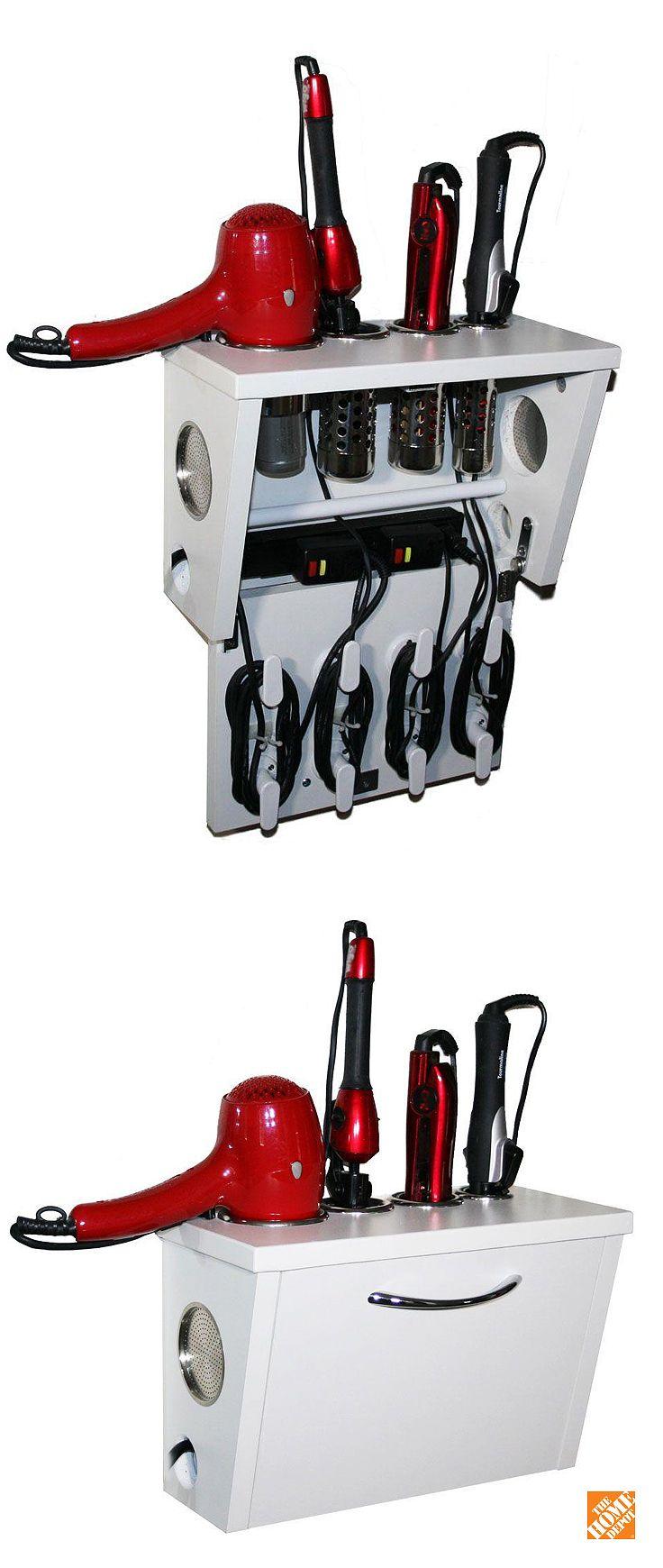 Pojjo Wall Mount Hair Appliance Storage System In White