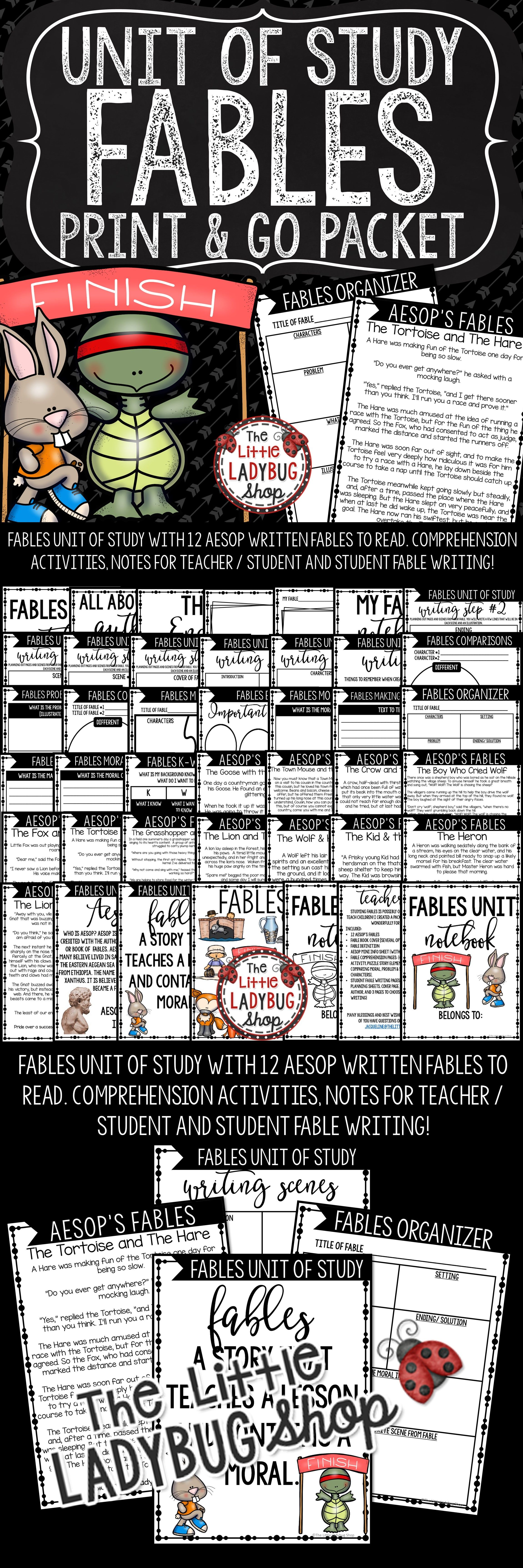 Aesop S Fables Unit Activities Reading Graphic Organizers