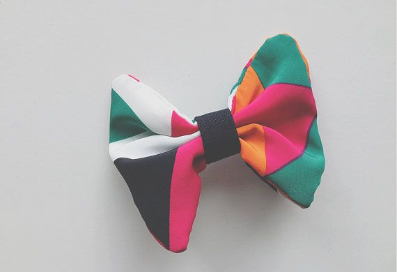 Hair Bow Geometric pattern by AccordingtoPanda on Etsy