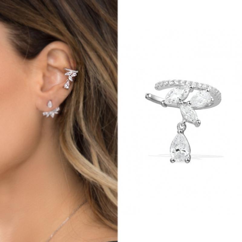 733638f901b3a Club Factory Water Drop Zircon Clip Earrings Marquise Cubic Zircon Ear Cuff  For Women Earings Fashion