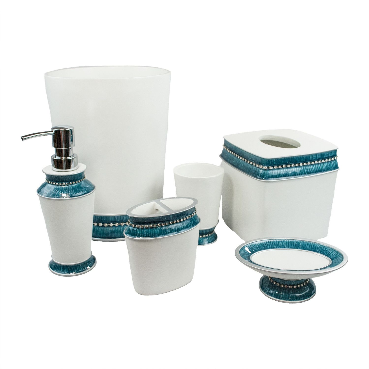Bathroom Simple White And Blue Colors Combination Bathroom Accessory ...