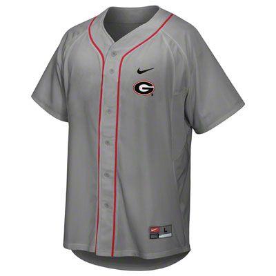 736d6e76d4b4 Georgia Bulldogs Youth Grey Nike Replica Baseball Jersey