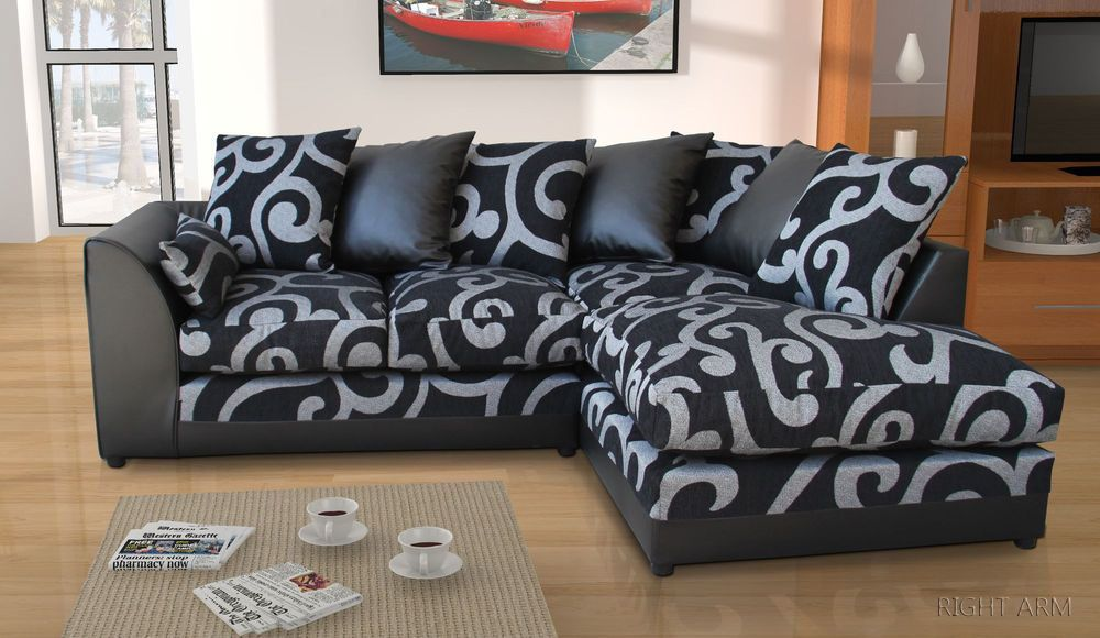 Details About New Zina Black Swirl Fabric Corner Sofa With