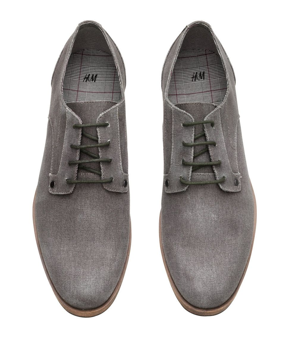 b885f87dcb Derby shoes in canvas with laces, a contrasting checked lining, and rubber  soles. | H&M For Men