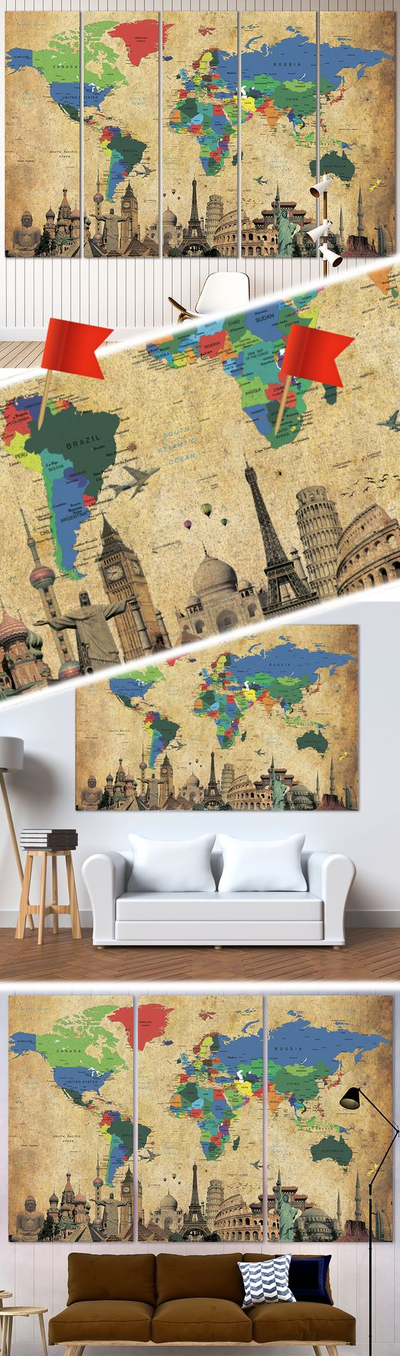Brown World Map №3027 | Map canvas, Office walls and Wall decorations