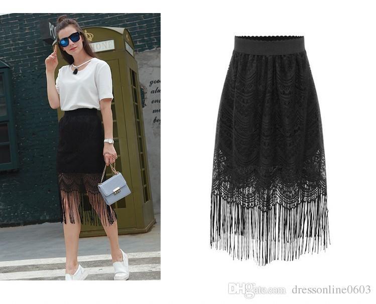 a15be6fda8 2017 Charming Black Lace Skirts 2017 Elastic Waist Tassel Hem S 4xl Elegant  Woman Summer Keen Length Skirt Cheap Straight Style From Dressonline0603,  ...