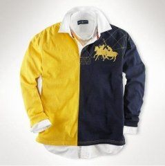 Ralph Lauren manga larga Custom-Fit partido de polo en amarillo / rojo