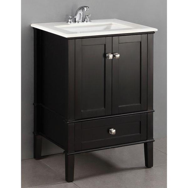 Windham Black 24Inch Bath Vanity With 2 Doors Bottom Drawer And  Extraordinary 24 Bathroom Vanity Review
