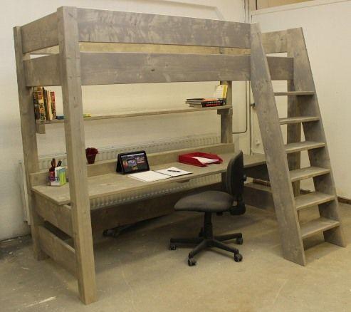 De hoogslaper leverbaar met of zonder bureau steiger wood high bed pinterest hoogslaper - Deco slaapkamer meisje en jongen ...