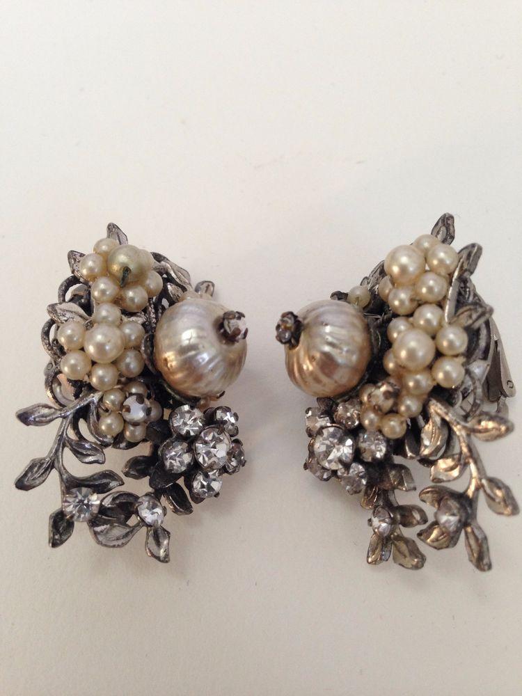 So Rare Signed Original By Robert Vintage Earrings Hand Wired Rhinestones Flower Vintage Earrings Earrings Vintage Costume Jewelry
