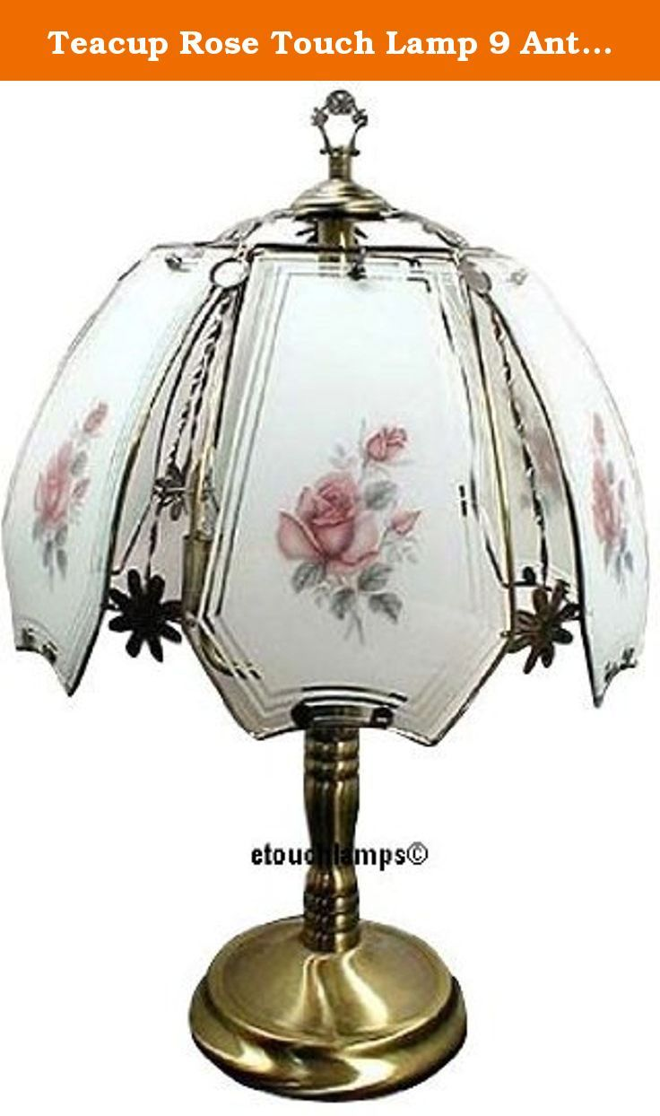 Teacup Rose Touch Lamp 9 Antique Br Base Standing 23 Tall The Of This Has An Finish Touching Anywhere Turns