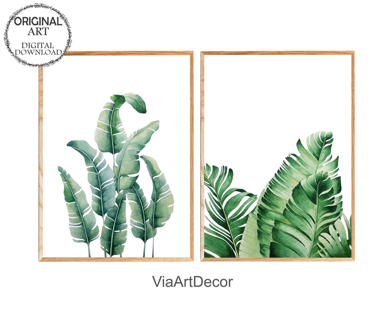 Tropical Leaf Print Set Of 2 Banana Leaves Printable Wall Art Etsy Printable Wall Art Etsy Print Sets Tropical Leaf Print