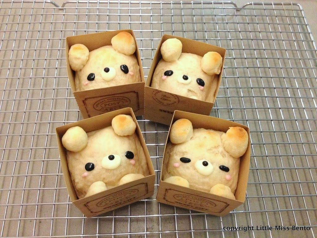 Teddy in a Box Bread Recipe 可愛いくまさんパンのレシピ - Little Miss Bento