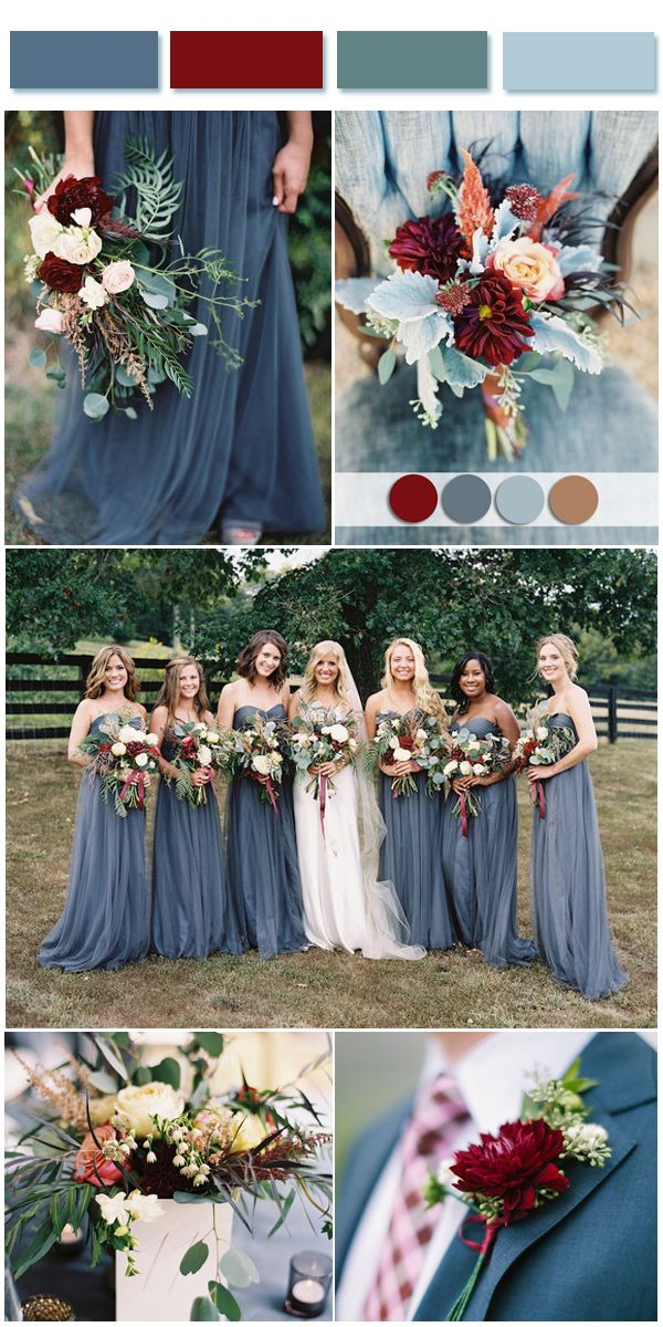 Dusty blue wedding color combos inspired by 2017 pantone for Fall wedding dress colors