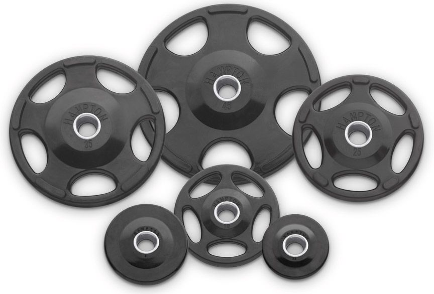 Urethane Coated Olympic Gripping Plates for Barbell Exercises in Garage Gyms  sc 1 st  Pinterest & Hampton Olympic Urethane Weight Plates w/Recessed Grips -- Hampton ...