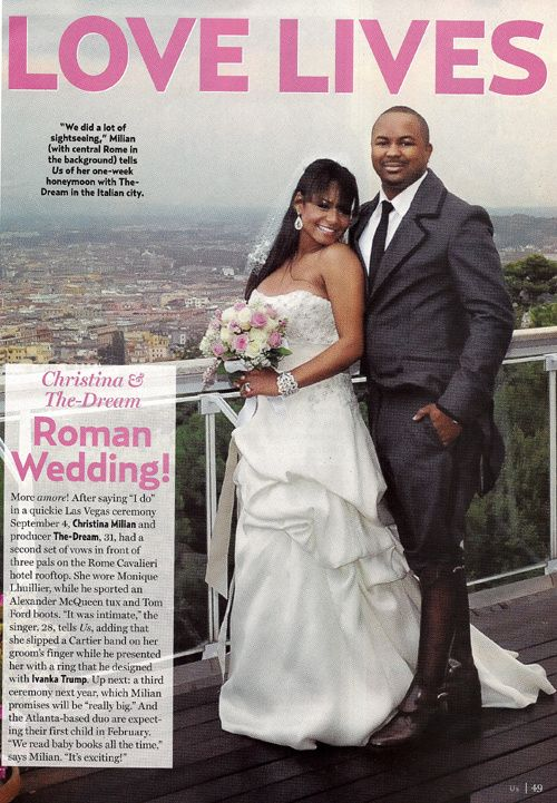 Happily married husband and wife: The-Dream and Christina Milian wedding