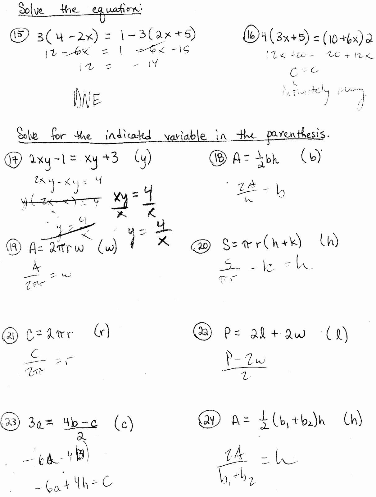 50 Literal Equations Worksheet Answers in 2020 Literal