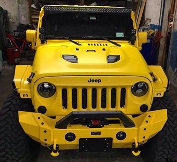 Yellow Jeep Jk With Matching Bumper Hood With Black Vents Jeep