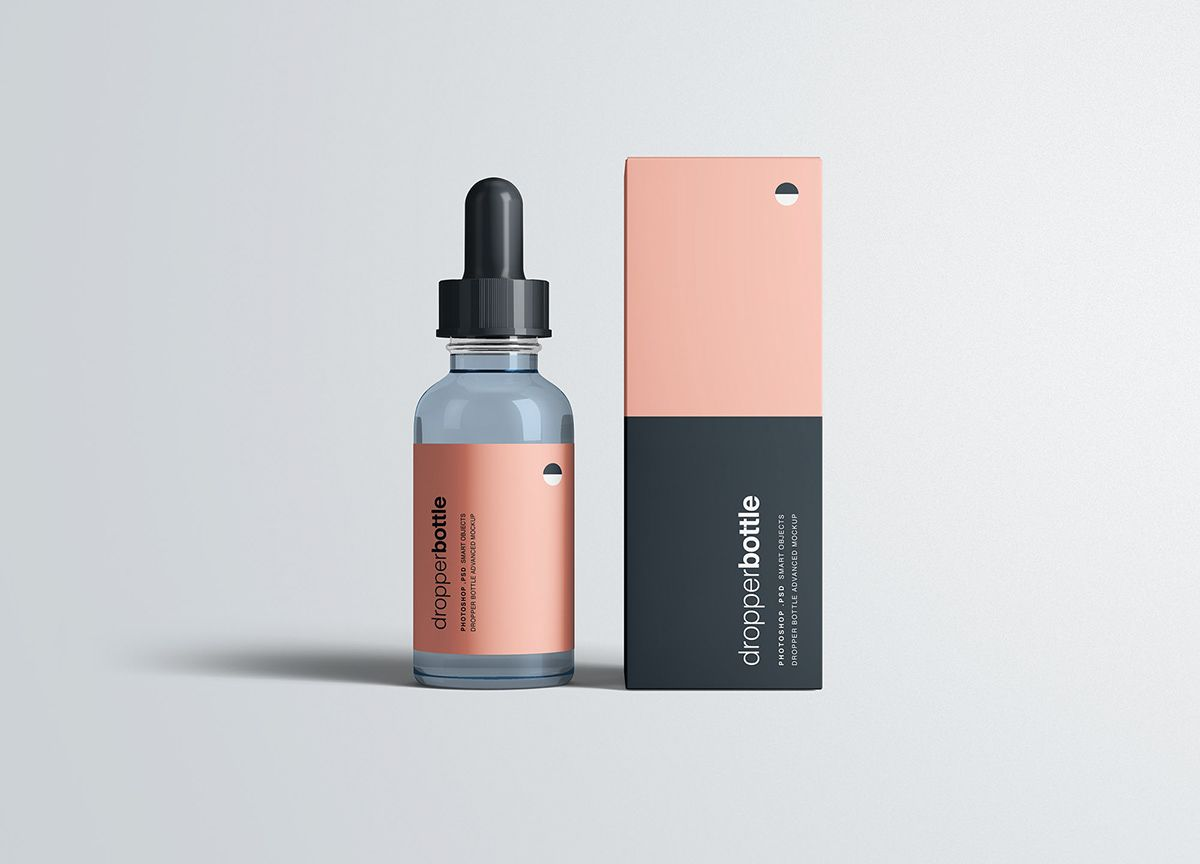 Dropper Bottle Package Mockup Psd On Behance Bottle Design Packaging Cosmetic Packaging Design Cosmetics Mockup