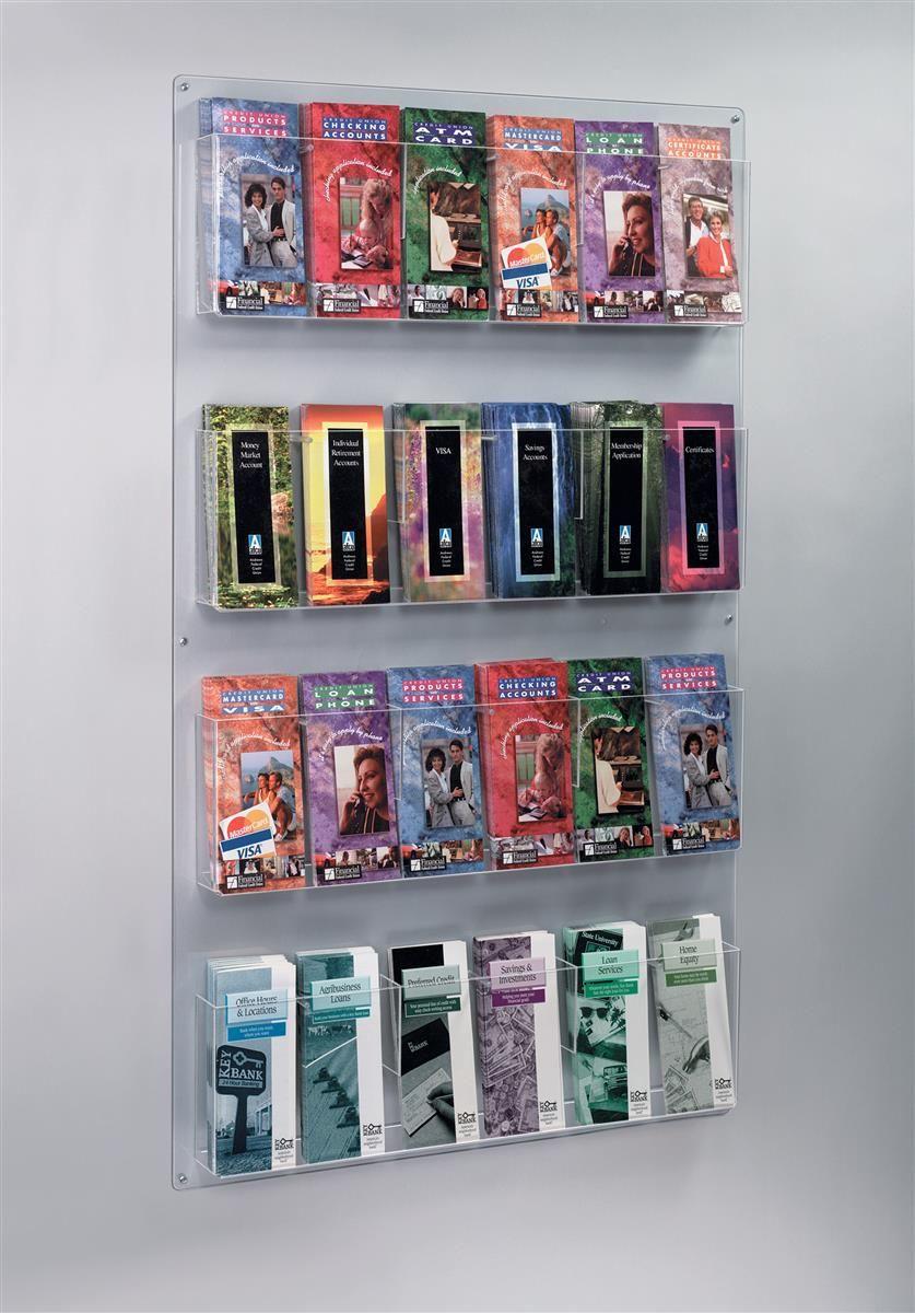 4 Tiered Acrylic Literature Wall Rack 4 8 5 W 12 24 Adjustable Pockets Clear Brochure Display Wall Display Clear Acrylic
