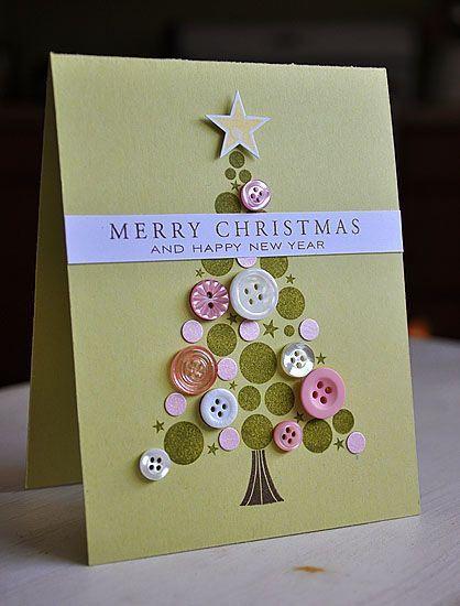 Carte De Voeux Sapin En Boutons Handmade Christmas Crafts Diy