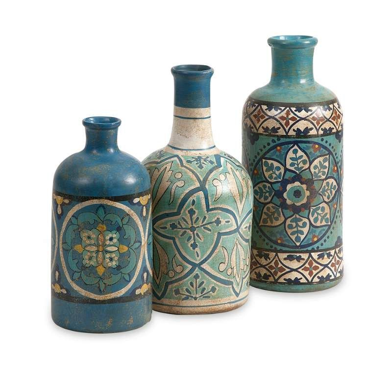 Imax Home 73137-3 Kabir Hand Painted Bottles Home Decor Accents