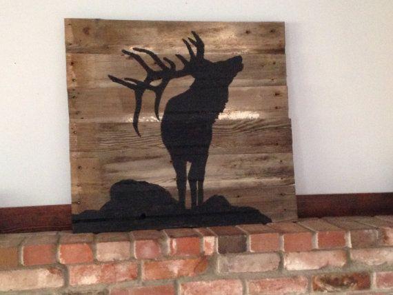 elk silhouette painted on reclaimed barnwood for the home pinterest holz deko und m bel bauen. Black Bedroom Furniture Sets. Home Design Ideas