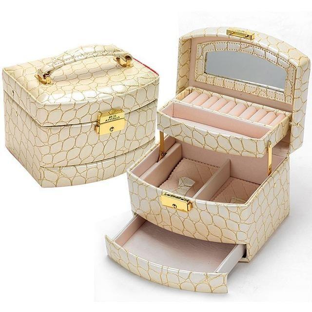 3 Layers Crocodile Grain Luxury PU Leather Jewelry Organizer